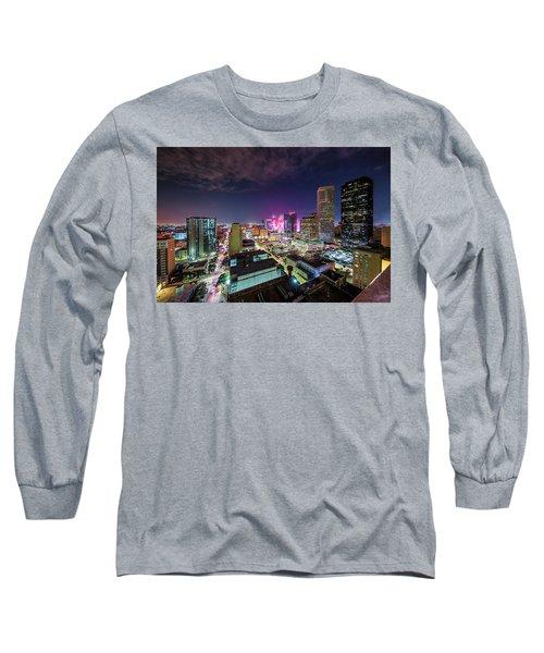 Super Bowl Li Down Town Houston Fireworks Long Sleeve T-Shirt