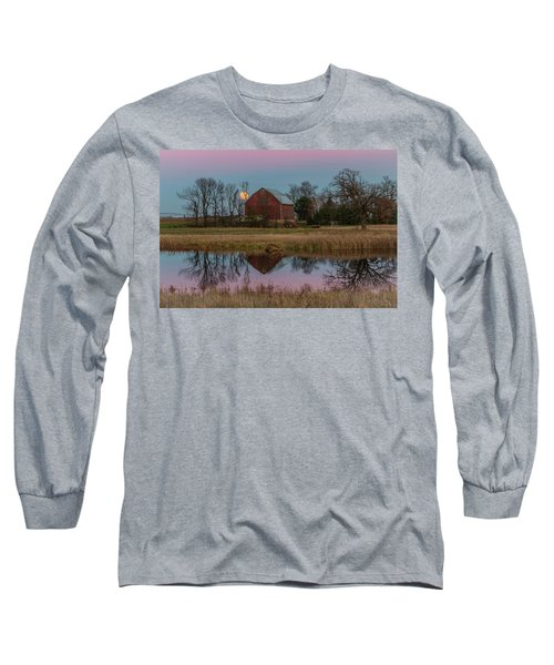 Super Moon And Barn Series #1 Long Sleeve T-Shirt