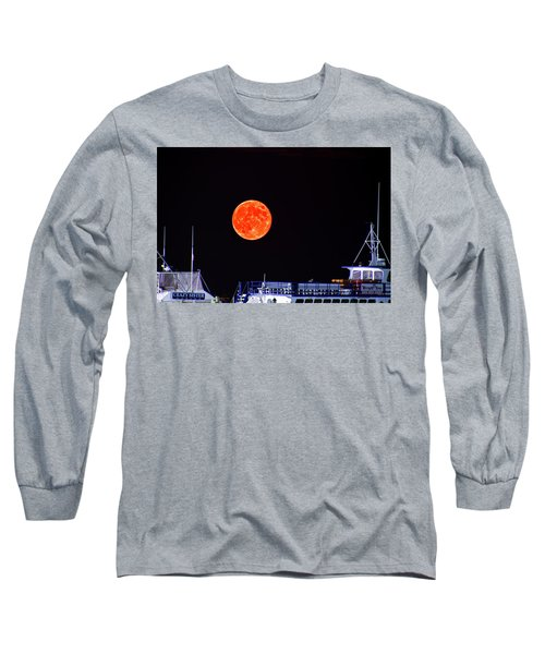 Super Moon Over Crazy Sister Marina Long Sleeve T-Shirt by Bill Barber