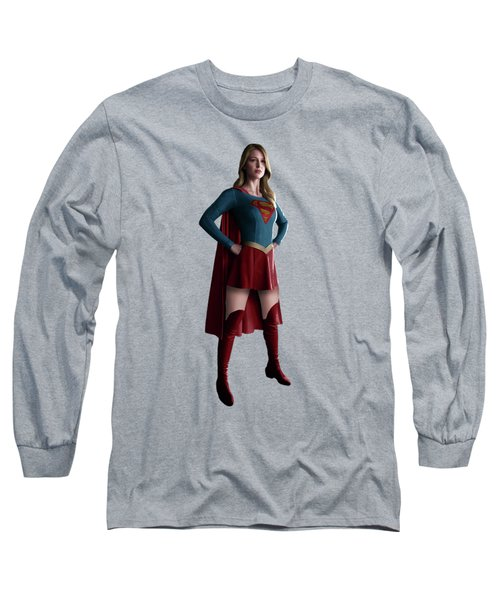 Long Sleeve T-Shirt featuring the mixed media Supergirl Splash Super Hero Series by Movie Poster Prints