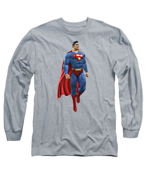 Long Sleeve T-Shirt featuring the mixed media Superman Splash Super Hero Series by Movie Poster Prints