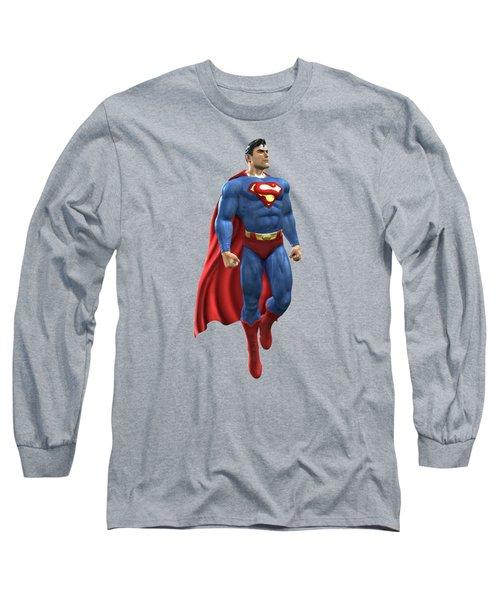 Superman Splash Super Hero Series Long Sleeve T-Shirt by Movie Poster Prints