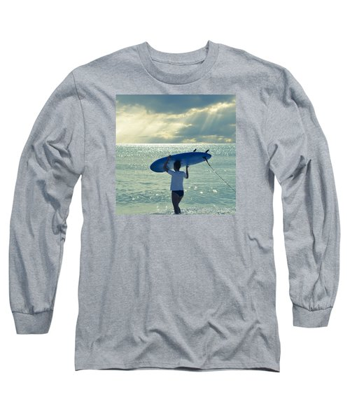 Surfer Girl Square Long Sleeve T-Shirt by Laura Fasulo