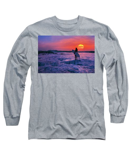 Surfer On Rock Looking Out From Blowing Rocks Preserve On Jupiter Island Long Sleeve T-Shirt