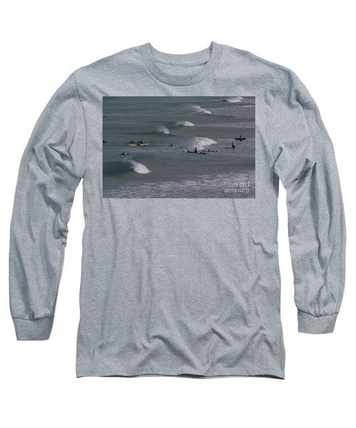 Long Sleeve T-Shirt featuring the photograph Photographs Of Cornwall Surfers At Fistral by Brian Roscorla