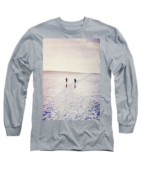 Long Sleeve T-Shirt featuring the photograph Surfers In The Snow by Lyn Randle