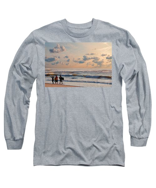 Surfing At Sunrise On The Jersey Shore Long Sleeve T-Shirt