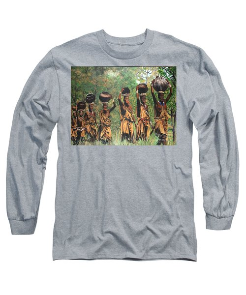 Long Sleeve T-Shirt featuring the painting Surma Women Of Africa by Sigrid Tune