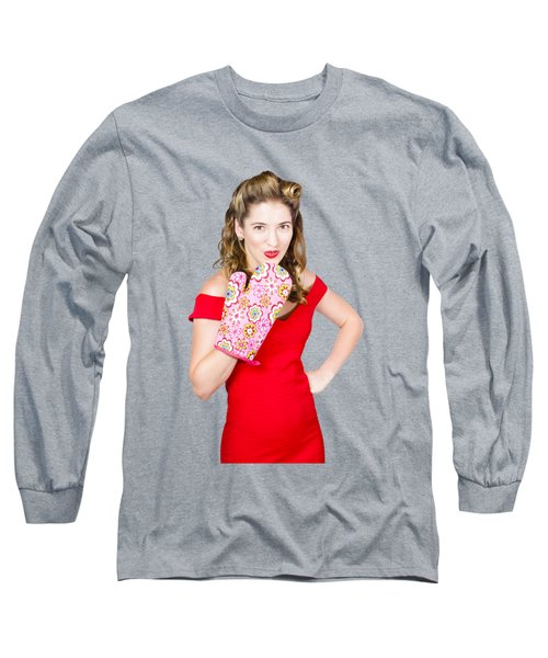 Surprise Cooking Pinup Woman With Cook Mitt Long Sleeve T-Shirt by Jorgo Photography - Wall Art Gallery