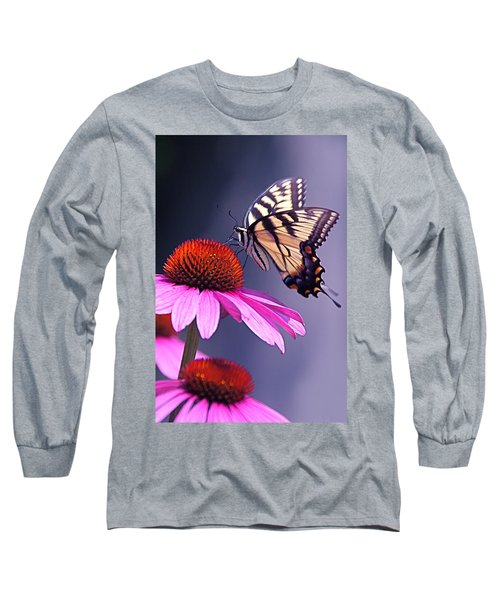 Long Sleeve T-Shirt featuring the photograph Swallowtail And Coneflower by Byron Varvarigos
