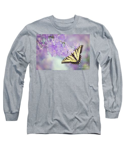 Swallowtail On Purple Flowers Long Sleeve T-Shirt
