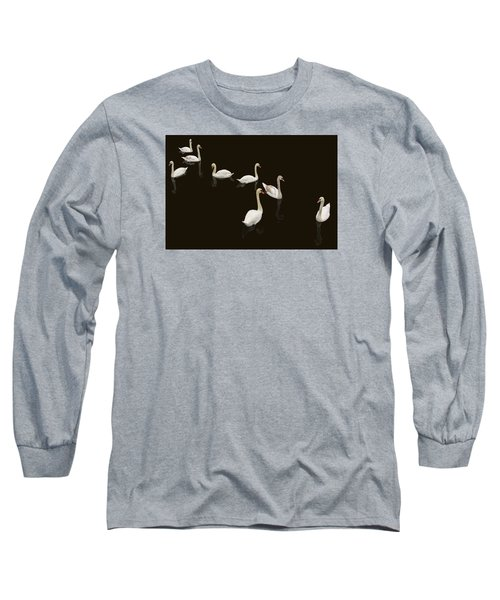 Long Sleeve T-Shirt featuring the photograph Swan Family On Black by Constantine Gregory