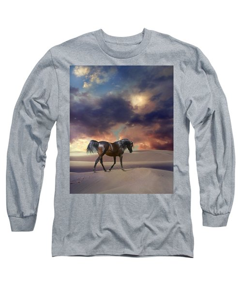 Long Sleeve T-Shirt featuring the digital art Swan Of Desert by Dorota Kudyba