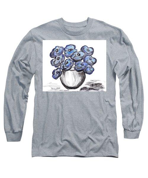 Sweet Blue Poppies Long Sleeve T-Shirt by Ramona Matei