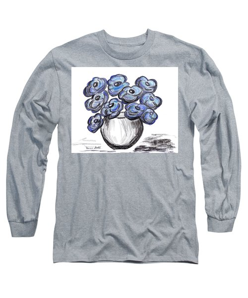 Sweet Blue Poppies Long Sleeve T-Shirt