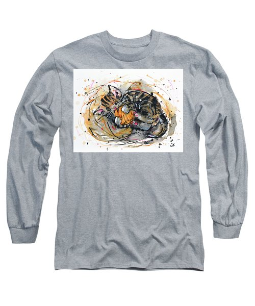 Long Sleeve T-Shirt featuring the painting Tabby Kitten Playing With Yarn Clew  by Zaira Dzhaubaeva