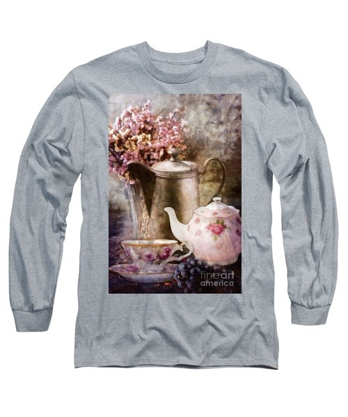 Long Sleeve T-Shirt featuring the painting Tea And Grapes by Mo T