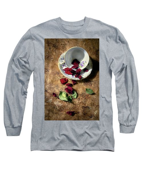 Teacup And Red Rose Petals Long Sleeve T-Shirt