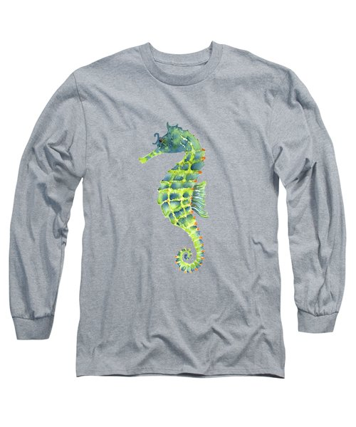 Teal Green Seahorse Long Sleeve T-Shirt by Amy Kirkpatrick