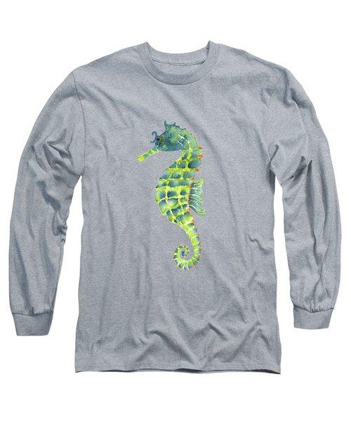 Teal Green Seahorse Long Sleeve T-Shirt