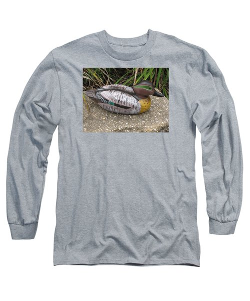 Long Sleeve T-Shirt featuring the sculpture Teal Winged Male by Kevin F Heuman