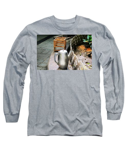 Long Sleeve T-Shirt featuring the photograph Teapot And Birdcage by Ethna Gillespie