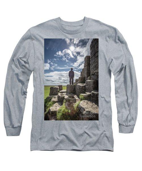 Long Sleeve T-Shirt featuring the photograph Teen Boy Standing On Basalt Rocks by Edward Fielding