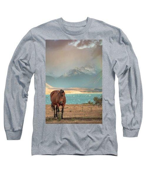 Long Sleeve T-Shirt featuring the photograph Tekapo Horse by Chris Cousins