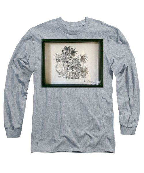 Temple In Calligraphy Ink Long Sleeve T-Shirt by Brindha Naveen
