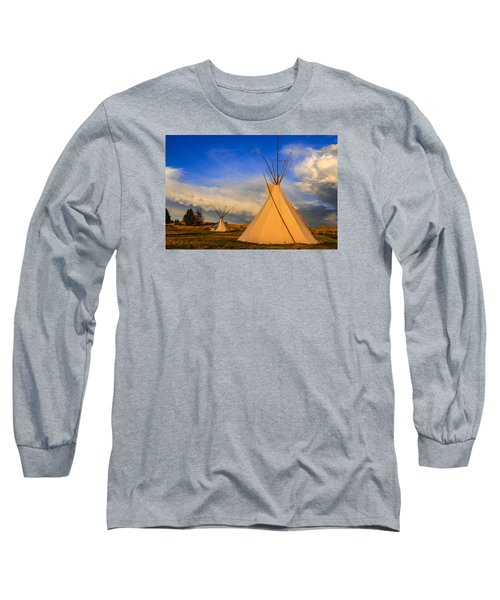 Tepees At Sunset In Montana Long Sleeve T-Shirt by Chris Smith