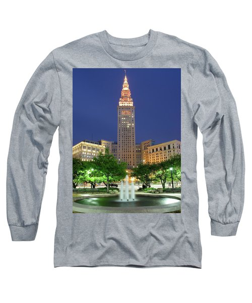 Terminal Tower Long Sleeve T-Shirt by Frozen in Time Fine Art Photography
