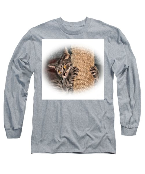 Long Sleeve T-Shirt featuring the photograph Terrorizing The Scratching Post by Debbie Stahre