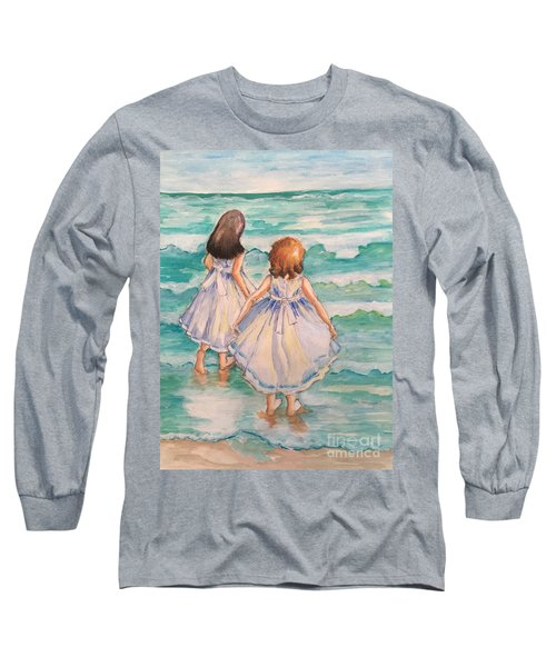 Long Sleeve T-Shirt featuring the painting Testing The Waters by Rosemary Aubut