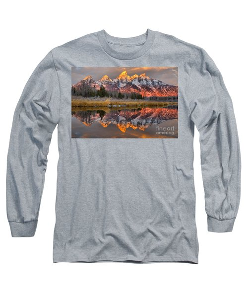 Teton Mountains Sunrise Rainbow Long Sleeve T-Shirt by Adam Jewell