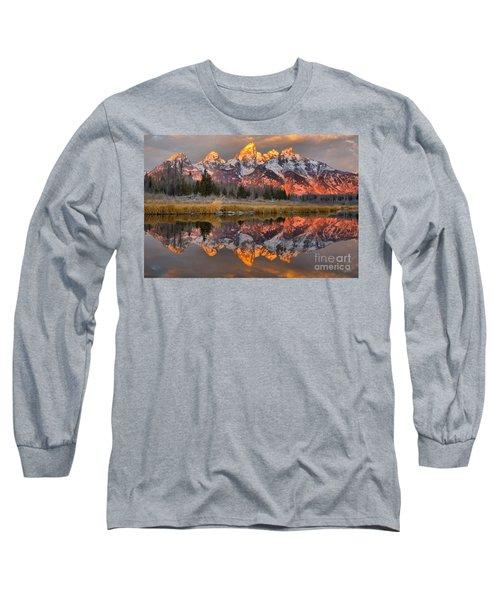 Teton Mountains Sunrise Rainbow Long Sleeve T-Shirt
