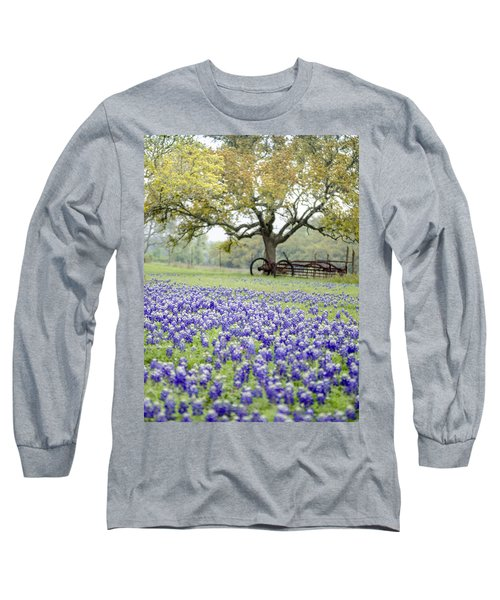 Texas Bluebonnets And Rust Long Sleeve T-Shirt by Debbie Karnes