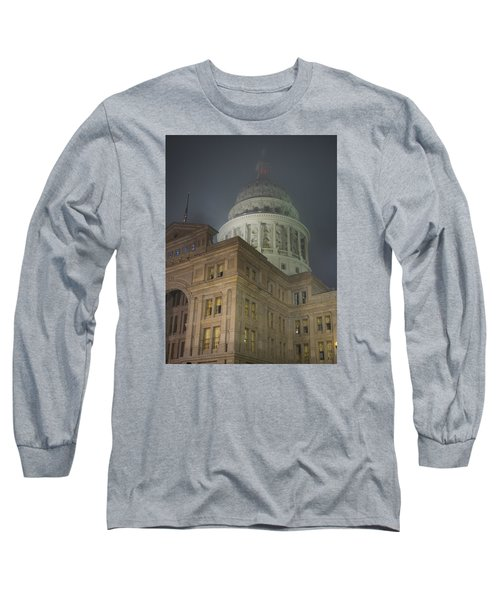 Texas Capitol In Fog Long Sleeve T-Shirt