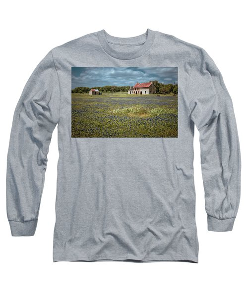 Long Sleeve T-Shirt featuring the photograph Texas Stone House by Linda Unger