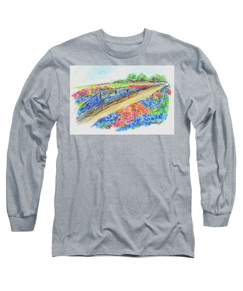 Texas Wild Flowers Long Sleeve T-Shirt by Clyde J Kell