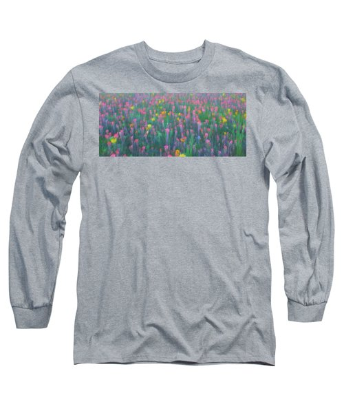 Texas Wildflowers Abstract Long Sleeve T-Shirt