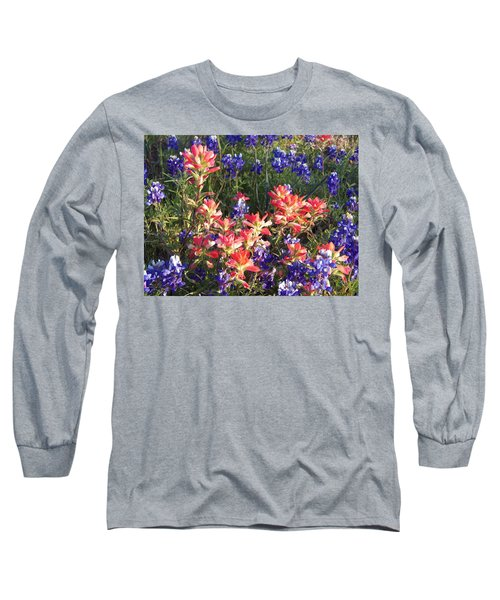 Long Sleeve T-Shirt featuring the painting Texas Wildflowers by Karen Kennedy Chatham
