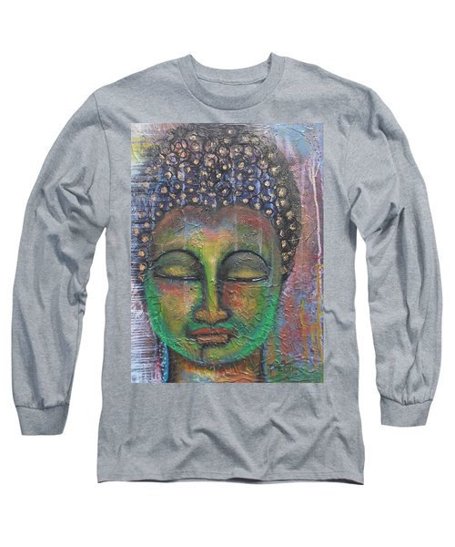 Long Sleeve T-Shirt featuring the painting Textured Green Buddha by Prerna Poojara