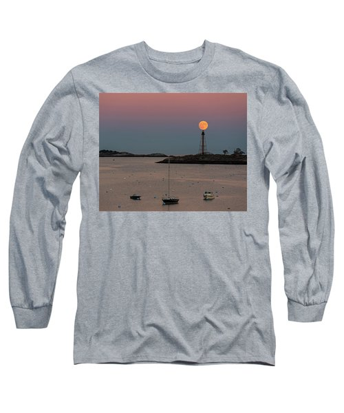 The 2016 Supermoon Balancing On The Marblehead Light Tower In Marblehead Ma Long Sleeve T-Shirt
