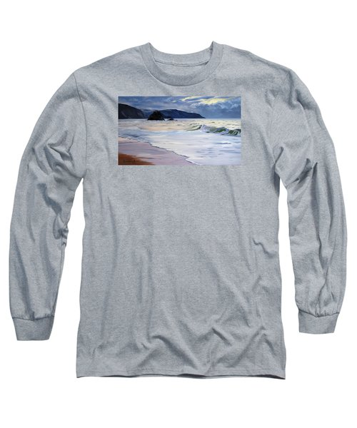 Long Sleeve T-Shirt featuring the painting The Black Rock Widemouth Bay by Lawrence Dyer