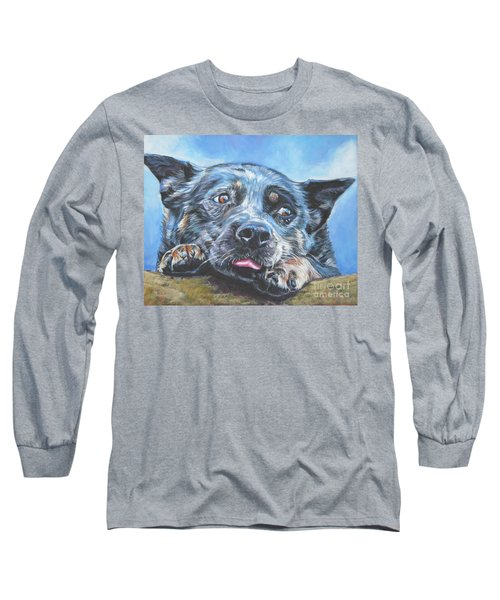 Long Sleeve T-Shirt featuring the painting The Blue Heeler by Lee Ann Shepard