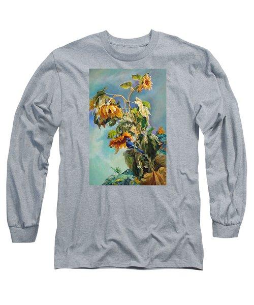 The Blue Jay Who Came To Breakfast Long Sleeve T-Shirt by Svitozar Nenyuk