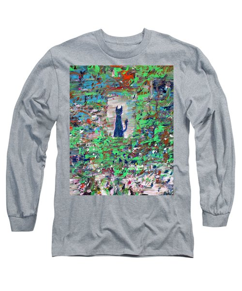 Long Sleeve T-Shirt featuring the painting The Cat In The Garden by Fabrizio Cassetta