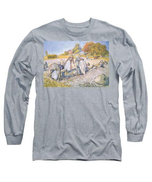 The Children Filled The Buckets And Baskets With Potatoes Long Sleeve T-Shirt by Carl Larsson