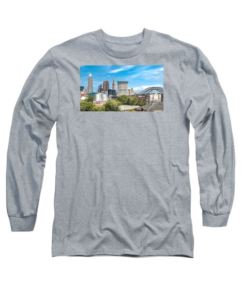 Long Sleeve T-Shirt featuring the photograph The Cleveland Skyline by Brent Durken