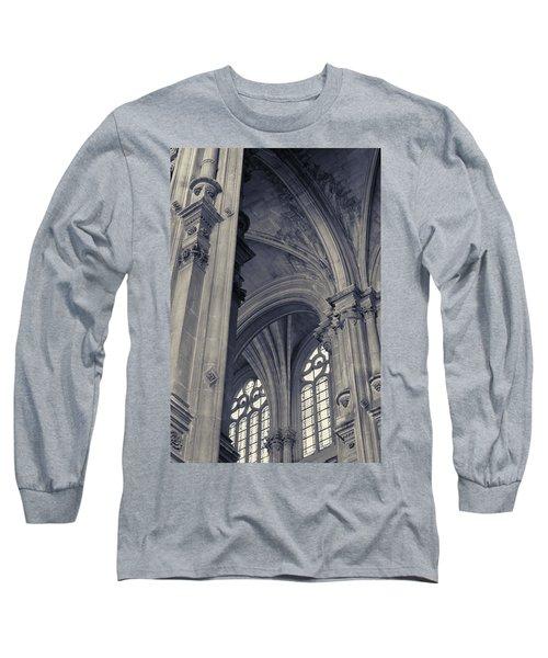 The Columns Of Saint-eustache, Paris, France. Long Sleeve T-Shirt by Richard Goodrich